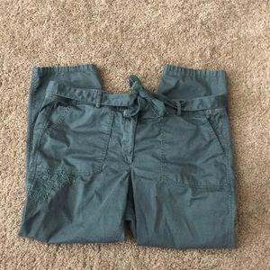Loft dark green crop pants